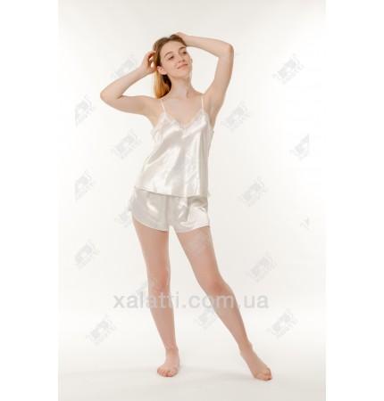 Шелковая пижама шортики 48 размер Janny кремовая