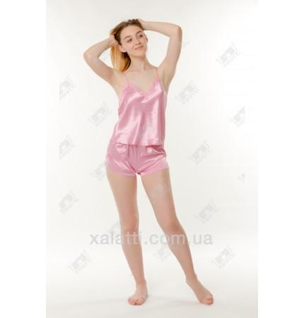 Шелковая пижама шортики 44-46 Janny розовая