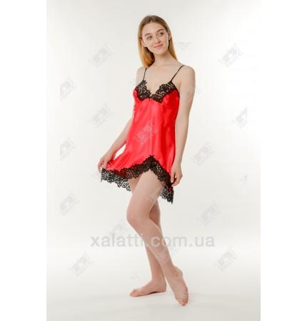 Шелковая женская сорочка 44-48 Jasmin красная
