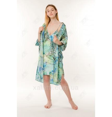 Набор ночная сорочка и халат шелк голубой Китай