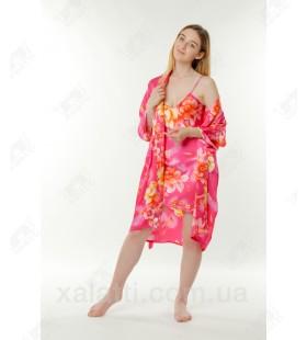 Набор ночная сорочка и халат шелк малиновый Китай