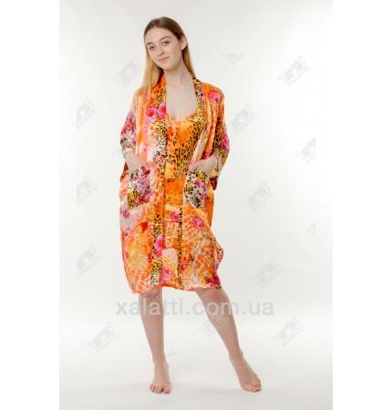Набор ночная сорочка и халат шелк оранжевый Китай