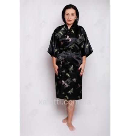 """Шелковый женский халат """"Бабочка"""" черный"""