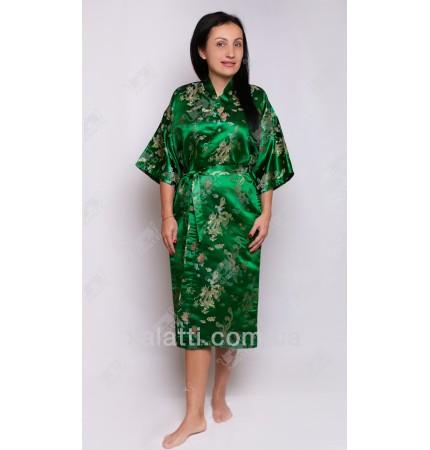 """Шелковый женский халат """"Дракон"""" зеленый"""