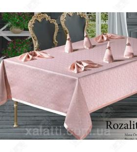 Скатерть 160*220 c салфетками MR Rosalite розовая