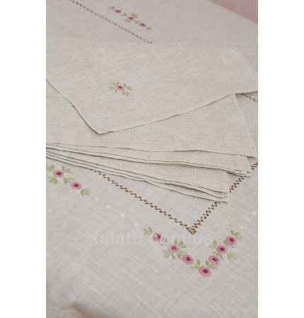 Скатерть 180*270 + 12 салфеток лен Розовая вышивка к.1488