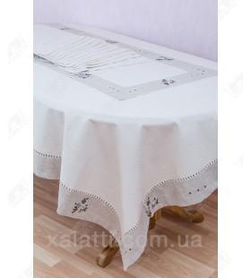 Скатерть 180*270 + 12 салфеток лен бежевая с серым к,1507