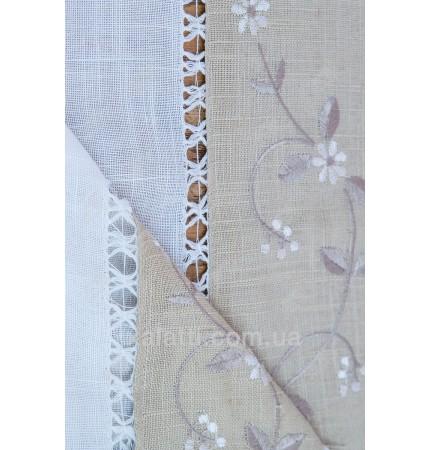 Скатерть 180*460 + 12 салфеток лен белый с серым к.1516
