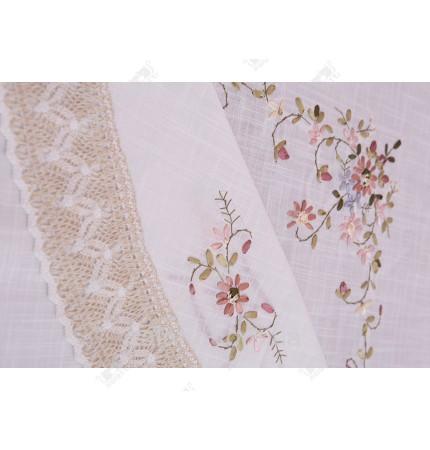 Скатерть круглая 180 ленточная вышивка к,1475