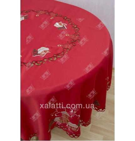 скатерть круглая Q 180  новогодняя красная полиэстер Китай