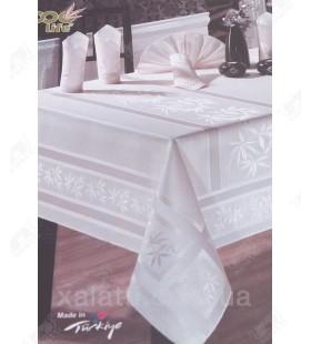 Скатерть 160*220 + 8 салфеток белая Bamboo