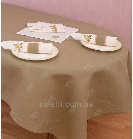 Скатерть 150*175  с салфетками лен серая Украина