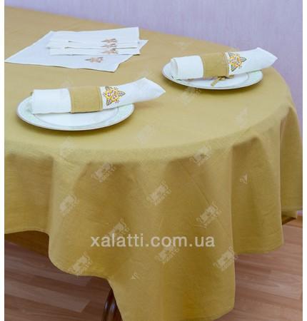 Скатерть 150*175  с салфетками лен желтая Украина