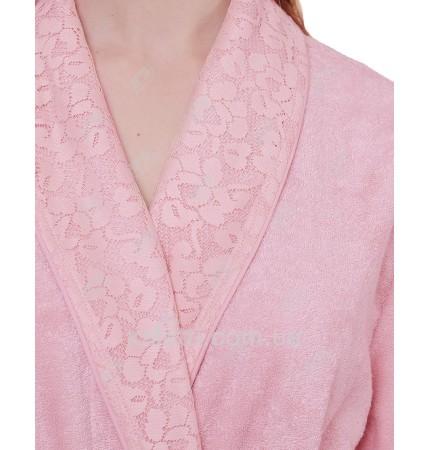Халат женский махровый бамбук Laurettе Maison D'or розовый