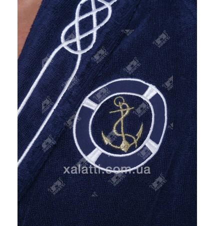 Халат мужской махровый микрокотон Marine SoftCotton синий