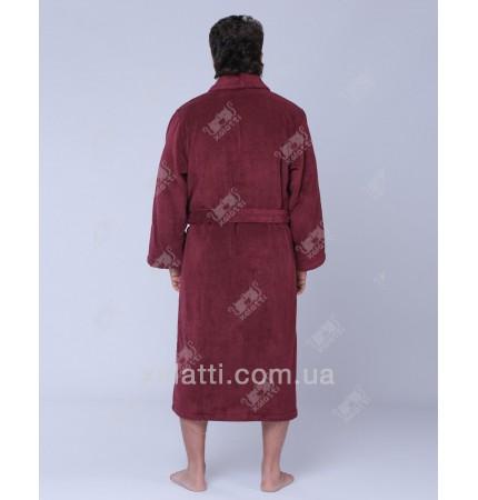 Халат мужской махровый микрокотон SoftCotton бордо