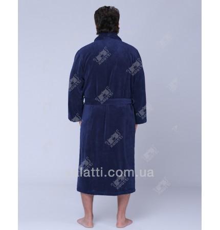 Халат мужской махровый микрокотон SoftCotton синий