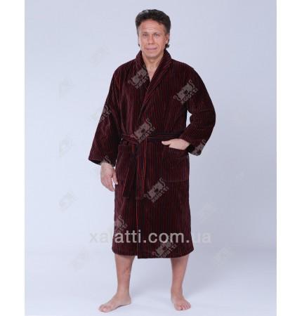 Халат мужской махровый SoftCotton Platinum бордо