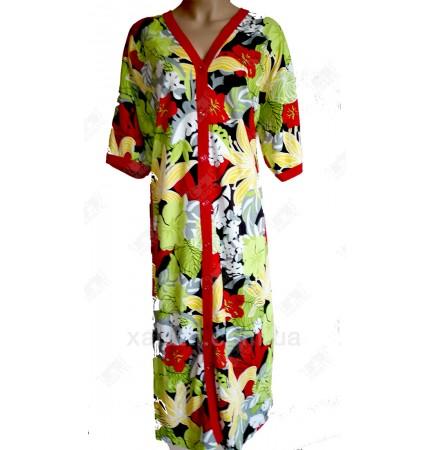 Женский трикотажный халат Esra k.2005 Гавайи