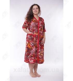 Женский трикотажный халат Esra k.2005 красный