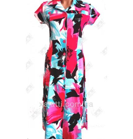 Женский трикотажный халат к.2340 бирюза