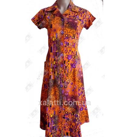 Женский трикотажный халат к.2340 оранжевый