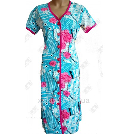 Женский трикотажный халат Esra k.2518 голубой