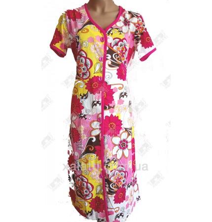 Женский трикотажный халат Esra k.2518 розовый