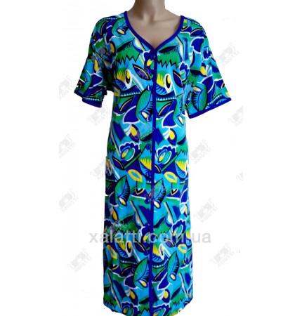 Женский трикотажный халат Esra k.2518 голубо-синий