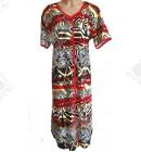 Женский трикотажный халат Esra k.2518 красно-желтый