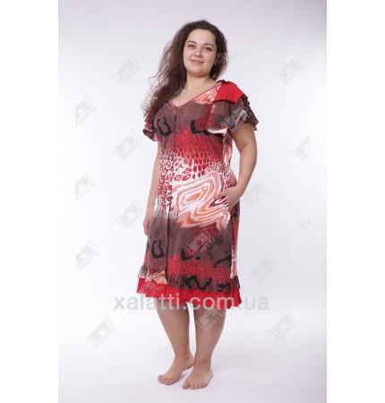 Женский трикотажный халат Esra k.2748 красный