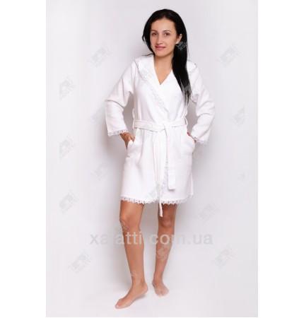 Вафельный женский халат короткий бамбук Nusa белый