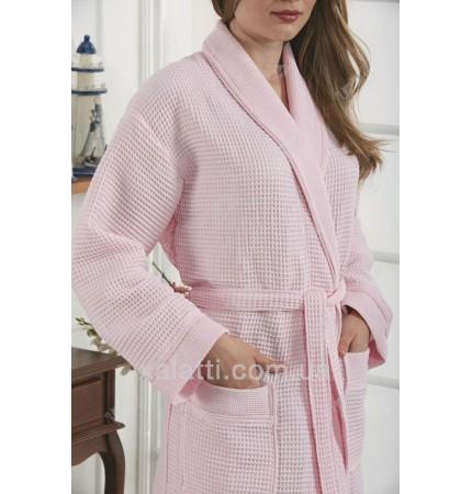 Вафельный женский халат Karna розовый