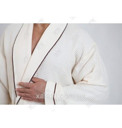 Вафельный мужской халат Karna кремовый