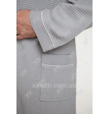 Вафельный мужской халат Karna серый