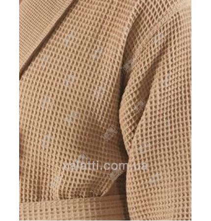 Вафельный мужской халат Karna бежевый