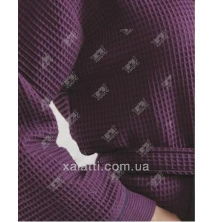 Вафельный женский халат хлопок Karna фиолетовый