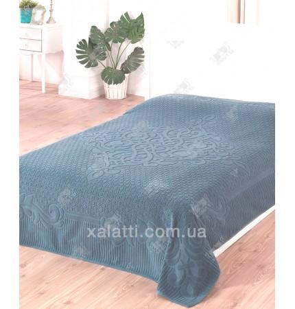 Махровая простыня 200*220 хлопок Gulsan сине-серый