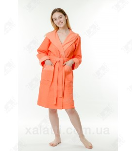 Халат вафельный женский короткий Massimo Monelli оранж