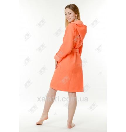 Халат вафельный женский короткий Massimo Monelli оранжевый