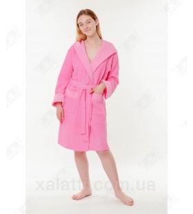 Халат вафельный женский короткий Massimo Monelli розовый