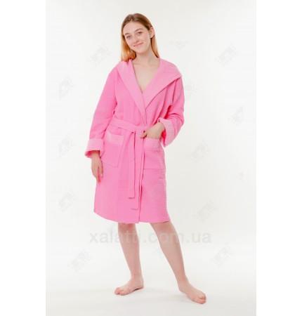 Халат вафельный женский хлопок короткий Massimo Monelli розовый