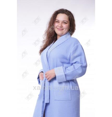 Халат вафельный женский Massimo Monelli голубой