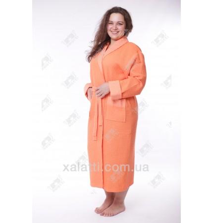 Халат вафельный женский Massimo Monelli оранжевый