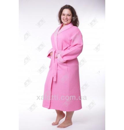 Халат вафельный женский 50-58 хлопок Massimo Monelli розовый