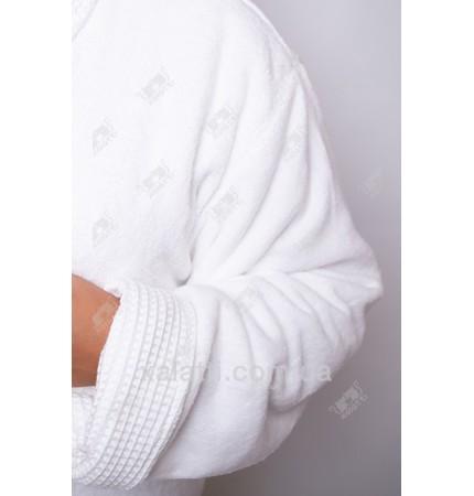 Вафельный мужской халат белый двойной