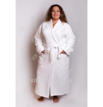 Вафельный женский халат белый двойной