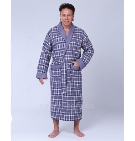 халат вафельный мужской хлопок Massimo Monelli серый
