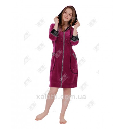 Халат велюровый женский на молнии капюшон К-3095 Kiran фуксия