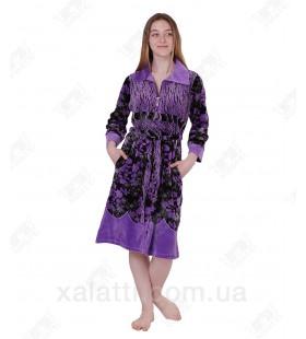 Халат велюровый женский на молнии 3920 Kiran сиреневый